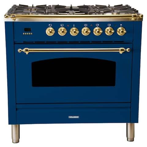 "36"" Dual Fuel Italian Range, BSTrim in Blue"