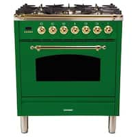 "30"" Dual Fuel Italian Range, BSTrim in Emerald Green"
