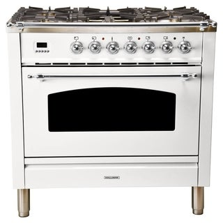 "36"" Italian Gas Range, Chrome Trim in White"