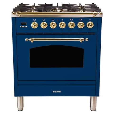 "30"" Dual Fuel Italian Range, BSTrim in Blue"