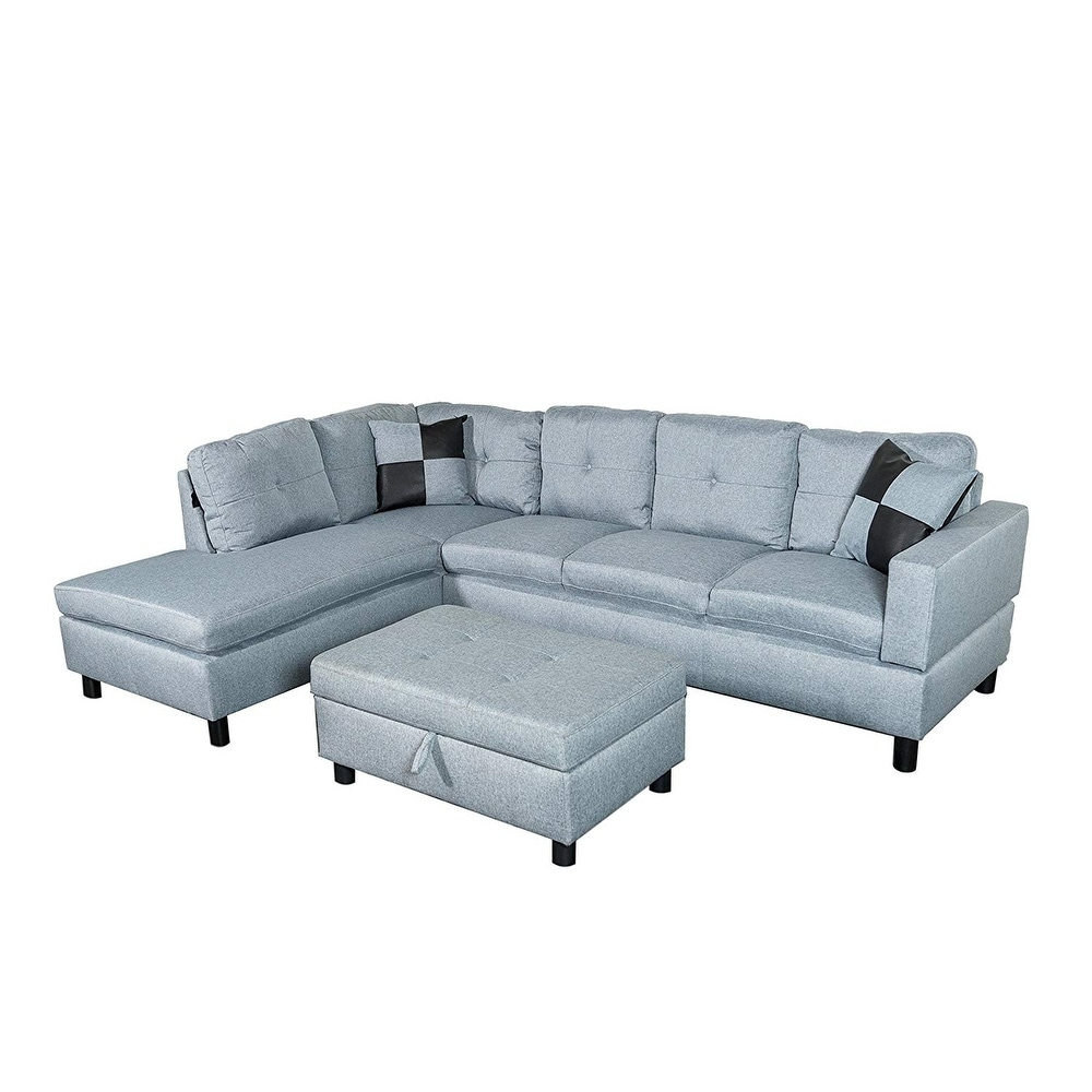 Stupendous Microfiber Sectional Sofa Set With Free Storage Ottoman Andrewgaddart Wooden Chair Designs For Living Room Andrewgaddartcom
