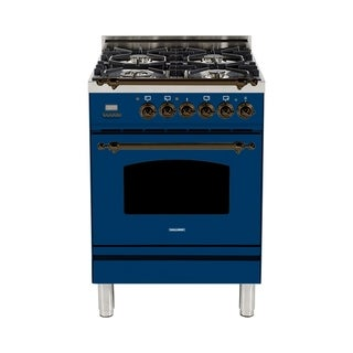 "HALLMAN 24"" Dual Fuel Italian Range, Bronze Trim in Blue"