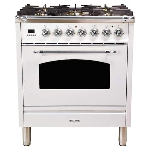 "30"" Dual Fuel Italian Range, Chrome Trim in White"