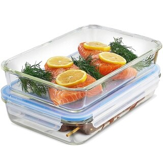 Glass Casserole Dish with Lid - (4-Piece) 12 x 8 Inch Freezer-to-Oven Safe Baking Dish and Airtight Food Storage Containers