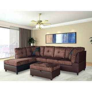 Suede Sectional Sofa with Faux Leather Base and Storage Ottoman