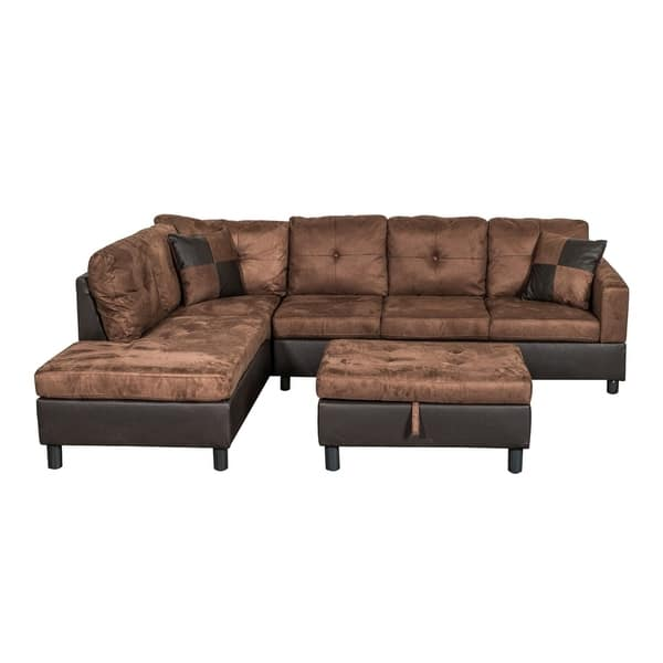 Shop Suede Sectional Sofa with Faux Leather Base and Storage ...