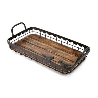 Elements 17-Inch Rectangle Bird Metal Wood Tray
