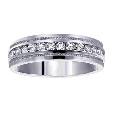 Platinum Men's 1/2ct TDW Round-cut Diamond Ring