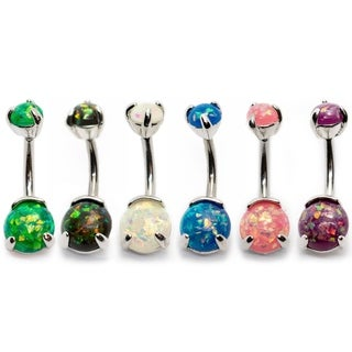 """Pierce2GO Belly Ring with Synthetic Opal Stones - 14GA - 7/16"""" Barbell"""