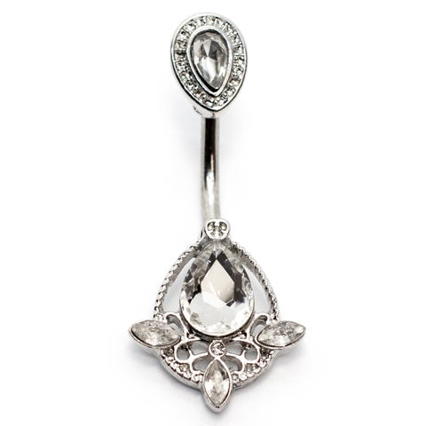"Pierce2GO Belly Ring, Crystal Teardrop Pendant - 14GA - 7/16"" Barbell"