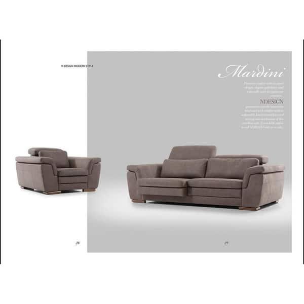 Mardini Italian Design Grey Sofa - Overstock - 22889373