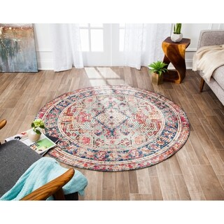 Jani Calo Distressed Red Jute-blend Rug - 4'