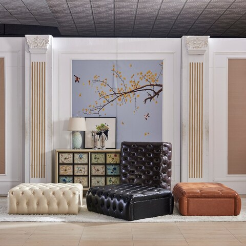 Ash Brown Faux Leather Classic Upholstered Bench