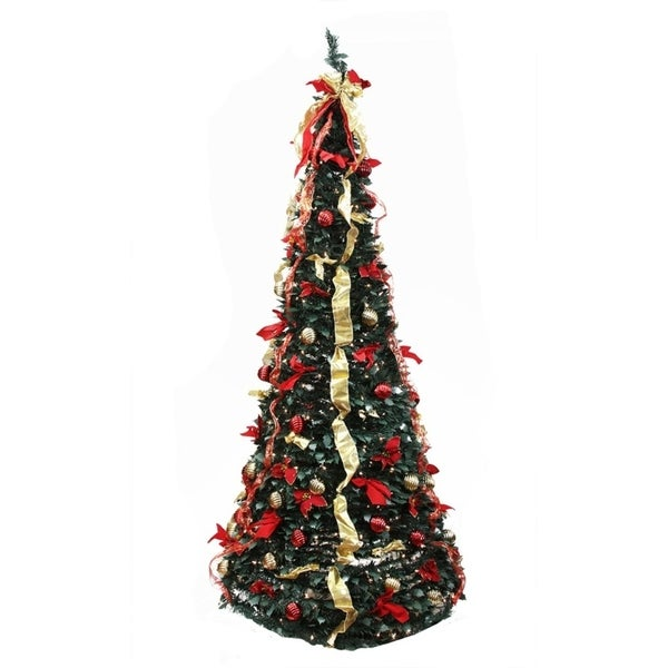 Shop 6' Pre-Lit Gold and Red Decorated Pop-Up Artificial Christmas Tree - Clear Lights - Free Shipping Today - Overstock - 22889435