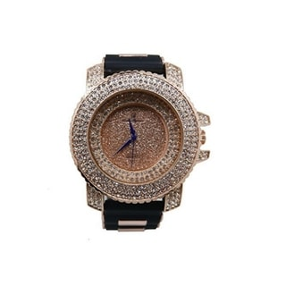 Hip Hop Rose Gold Iced Out Mens Rubber Watch - 7973 Rubber Rose Gold