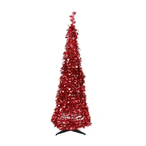 Pop Up Christmas Trees With Lights: Shop 6' Pre-Lit Red Tinsel Pop-Up Artificial Christmas