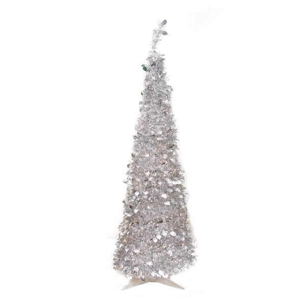 Silver Tinsel Pop Up Christmas Tree: Shop 6' Pre-Lit Silver Tinsel Pop-Up Artificial Christmas