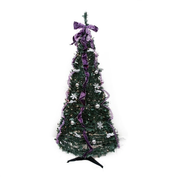 6 pre lit purple and silver decorated pop up artificial christmas