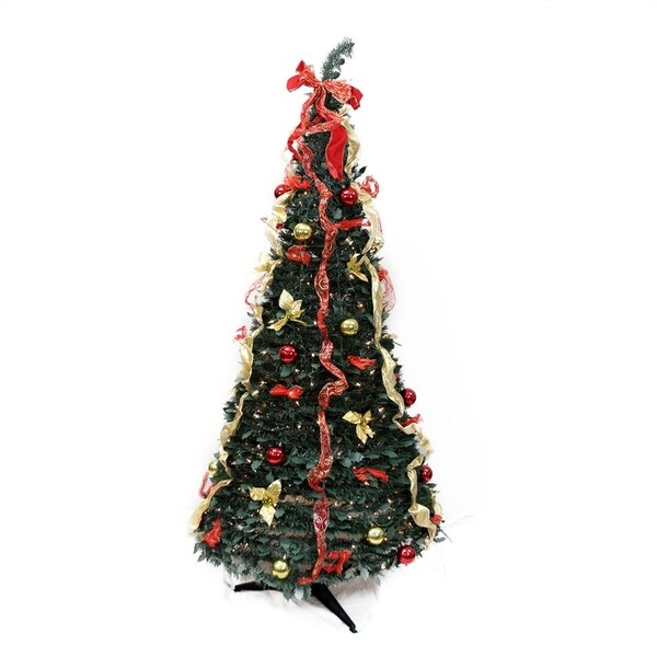 Red And Gold Christmas Trees: Shop 6' Pre-Lit Red And Gold Decorated Pop-Up Artificial
