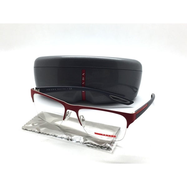 Shop PRADA VPR 55F VPR55F UAB-1O1 56mm Men\'s Red Semi-Rimless ...