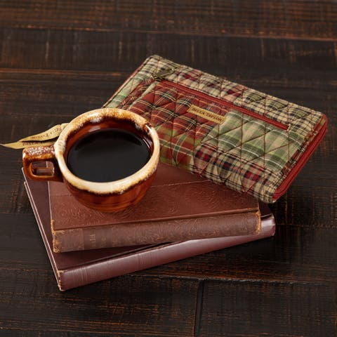 Red Rustic Handbags VHC Gatlinburg Wrist Strap Wallet Wallet Cotton Patchwork Antique Brass Hardware - 4.75x8x0.75