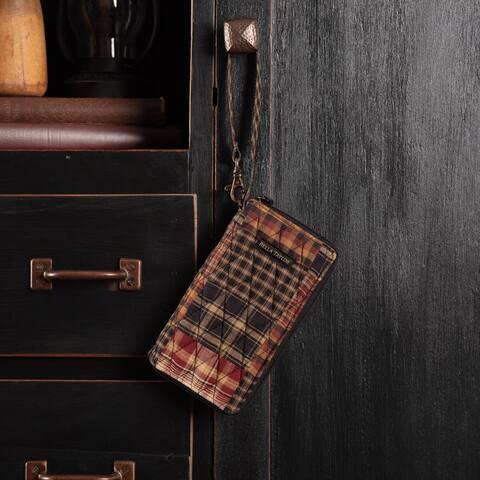 Red Rustic Handbags VHC Beckham Modern Wristlet Wallet Wallet Cotton Patchwork Antique Brass Hardware - 7x3.5x1
