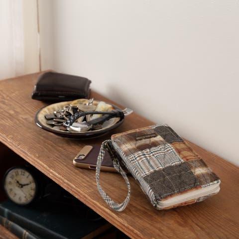Grey Farmhouse Handbags VHC Rory Modern Wristlet Wallet Wallet Cotton Patchwork Antique Brass Hardware - 7x3.5x1
