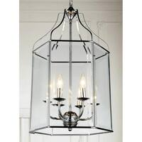 6-Light Chrome and Glass Chandelier