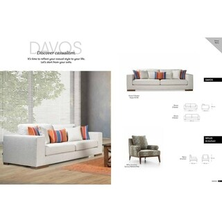 Davos Italian Design Mid Century Modern Premium Quality Off White Loveseat