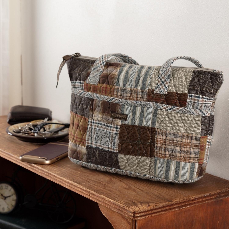VHC Farmhouse Crossbody Rory Claire Handbags Grey Cotton Patchwork