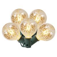 Set of 10 Clear Mercury Glass G50 Globe Christmas Lights - Green Wire