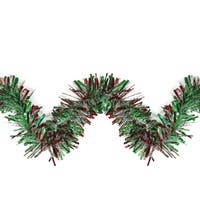 12' Green  Red and Snowblush Wide Cut Holographic Christmas Tinsel Garland