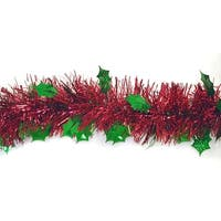 12' Shiny Red Christmas Tinsel Garland with Green Holographic Holly - Unlit