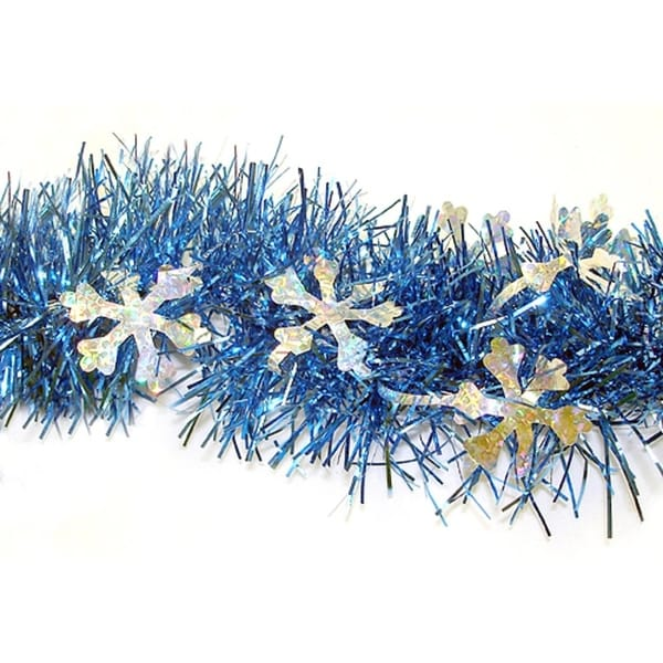 Christmas Tinsel Garland.12 Blue Christmas Tinsel Garland With Silver Holographic Snowflakes Unlit