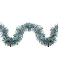 12' Silver and Icy Blue Wide Cut Holographic Christmas Tinsel Wave Garland