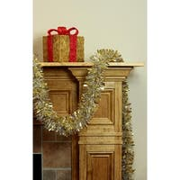 12' Soft and Sassy Gold and Silver Wide Cut Christmas Tinsel Garland - Unlit