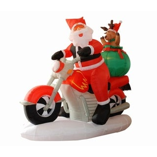 6.5' Inflatable Santa Claus on Motorcycle Lighted Christmas Yard Art Decoration