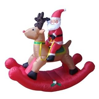 4' Airblown Inflatable Rocking Reindeer & Santa Lighted Christmas Yard Art Decor