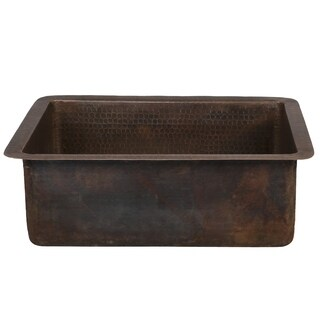 17-inch Large Rectangle Hammered Copper Bathroom Sink