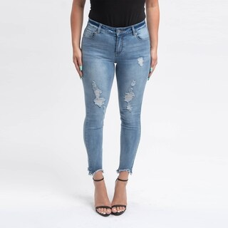 Gigi Allure Missy Medium Wash Shark Bite Hem Mid-Rise Skinny Jeans
