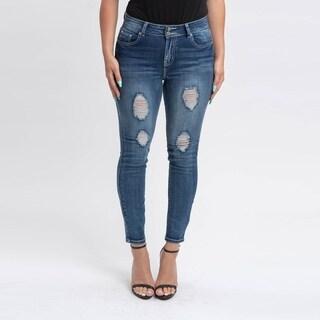 Gigi Allure Missy Medium Wash High-Rise Button Split Waistband Skinny Jeans