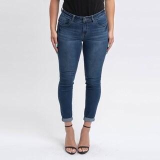 Gigi Allure Missy Dark Wash Roll Up Hem Mid-Rise Skinny Jeans