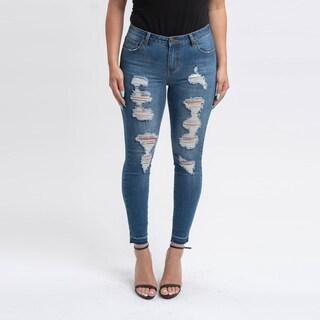 Gigi Allure Missy Dark Stone Wash Ripped Mid-Rise Skinny Jeans