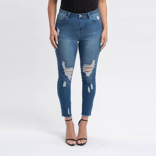 Gigi Allure Missy Dark Stone Wash High-Rise Ripped Skinny Jeans