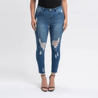 Gigi Allure Missy Dark Stone Wash High-Rise Ripped Skinny Jeans