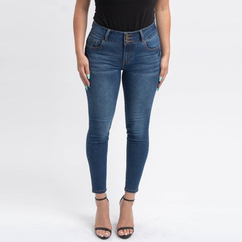 Gigi Allure Missy Dark Wash 3-Button Waistband Mid-Rise Skinny Jeans