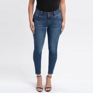 Gigi Allure Missy Dark Wash 3-Button Waistband Mid-Rise Skinny Jeans