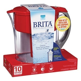 Brita  80 oz. Pitcher  Plastic  Red