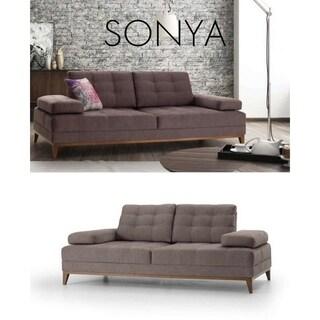Sonya Italian Design Mid Century Modern Premium Quality Grey Loveseat