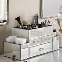 OnDisplay Amara 3 Drawer Tiered Silver Mirrored Makeup Jewelry Organizer
